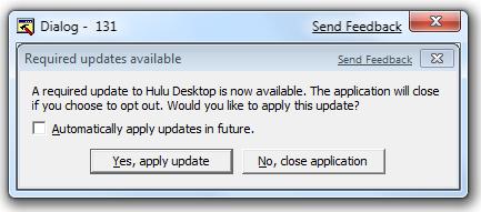 Hulu Forced Update