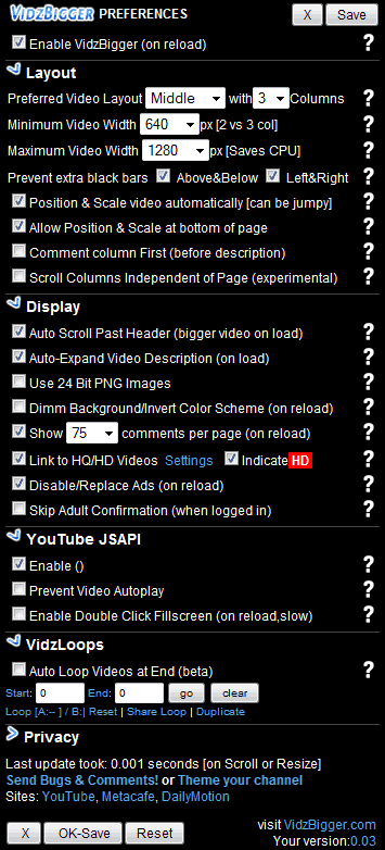 Vidzbigger Preferences Screen